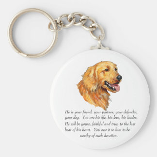 Golden Retriever Keepsake Basic Round Button Key Ring