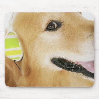 Golden retriever listening to music mouse mat