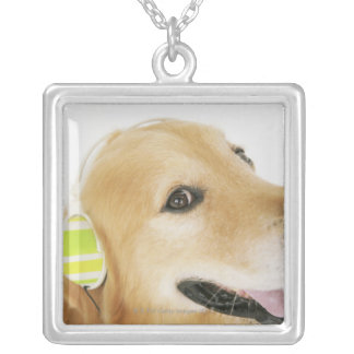 Golden retriever listening to music silver plated necklace