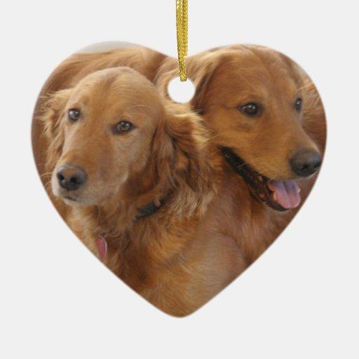 Golden Retriever Love Heart Ornament