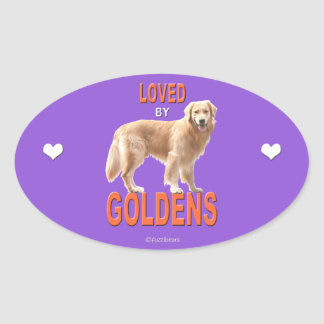 Golden Retriever 'Love' Oval Sticker
