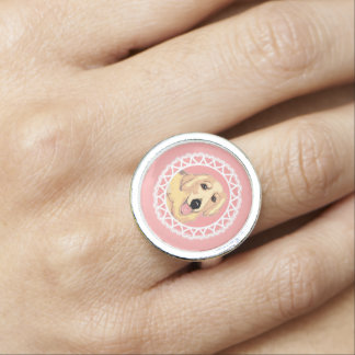 Golden Retriever Love Pink Ring