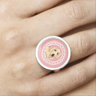 Golden Retriever Love Pink Ring