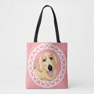 Golden Retriever Love Rosy Peach Tote Bag
