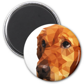Golden Retriever Low Poly Art 6 Cm Round Magnet