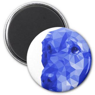 Golden Retriever Low Poly Art in Blue 6 Cm Round Magnet