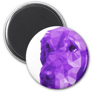 Golden Retriever Low Poly Art in Purple 6 Cm Round Magnet