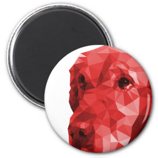 Golden Retriever Low Poly Art in Red 6 Cm Round Magnet