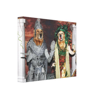 Golden Retriever Medusa and Stone Soldier Canvas Print