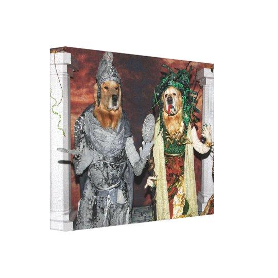 Golden Retriever Medusa and Stone Soldier Canvas Print