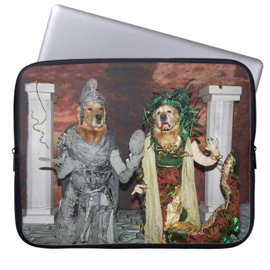 Golden Retriever Medusa and Stone Soldier Laptop Computer