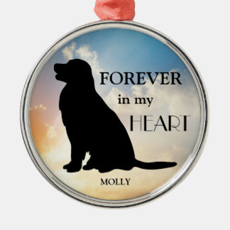 Golden Retriever Memorial Custom Name Silhouette Christmas Ornament