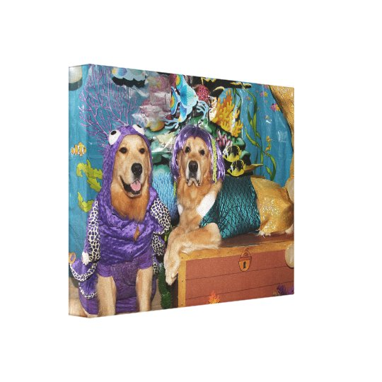Golden Retriever Mermaid Under the Sea Canvas Print