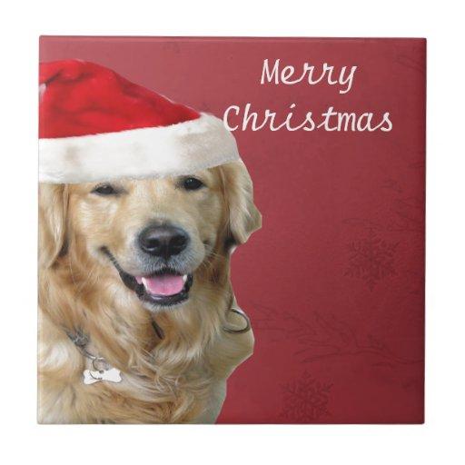 Golden Retriever Merry Christmas Tiles
