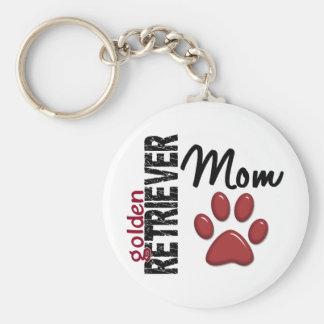 Golden Retriever Mom 2 Basic Round Button Key Ring