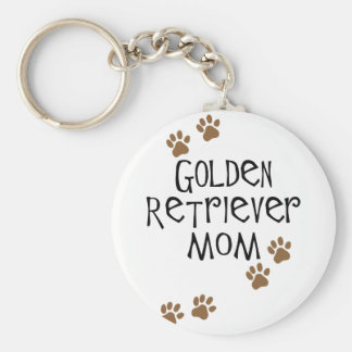 Golden Retriever Mom Basic Round Button Key Ring