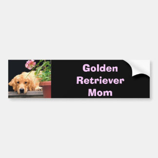 Golden Retriever Mom Bumper Sticker Pink