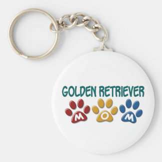 GOLDEN RETRIEVER Mom Paw Print 1 Basic Round Button Key Ring