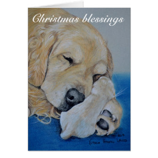 Golden Retriever Mother and Puppy Christmas card