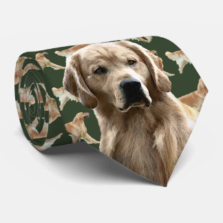 Golden Retriever Neck Tie - Dark Green