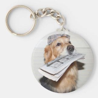 Golden Retriever Newspaper Boy Basic Round Button Key Ring
