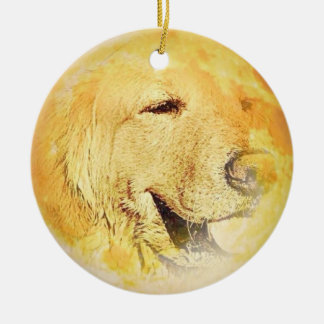 Golden Retriever on the moon Christmas Ornament