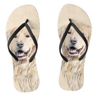 Golden Retriever Painting - Cute Original Dog Art Flip Flops