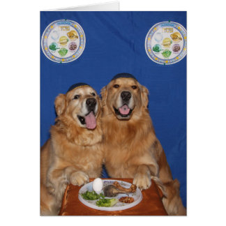 Golden Retriever Passover Seder Plate Greeting Card