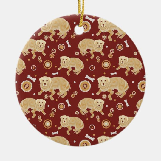Golden Retriever Pattern Christmas Ornament