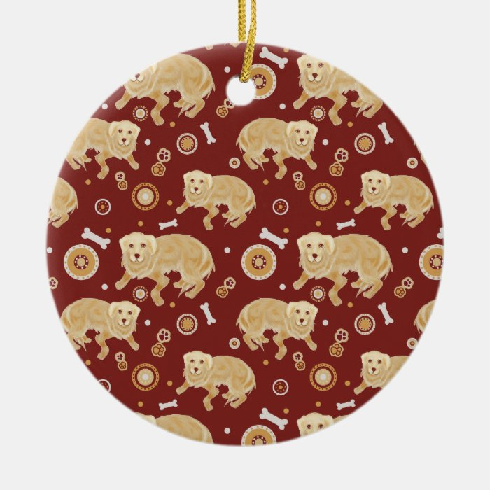 Golden Retriever Pattern Round Ceramic Decoration