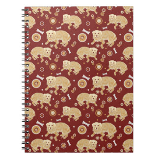 Golden Retriever Pattern Spiral Note Book