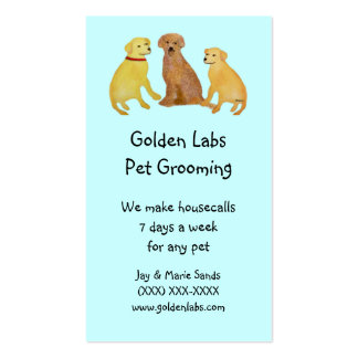 Golden Retriever Pet Grooming Business Cards