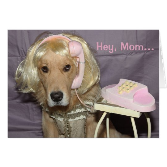 Golden Retriever Phone Call to Mum Mother's Day Card