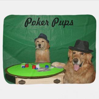 Golden Retriever Poker Pups Receiving Blanket