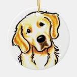 Golden Retriever Portrait Personalised Round Ceramic Decoration