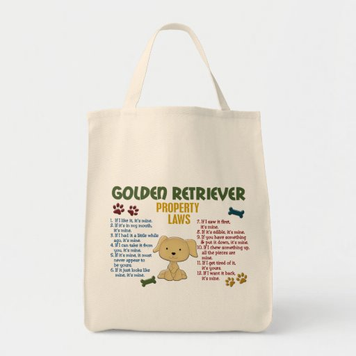 Golden Retriever Property Laws 4 Grocery Tote Bag