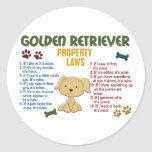 Golden Retriever Property Laws 4 Round Stickers