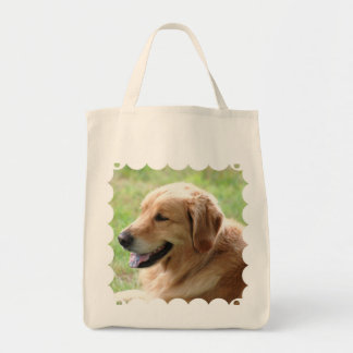 Golden Retriever Pup Grocery Tote Bag