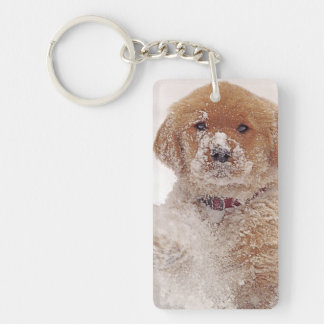 Golden Retriever Pup in Snow Key Ring