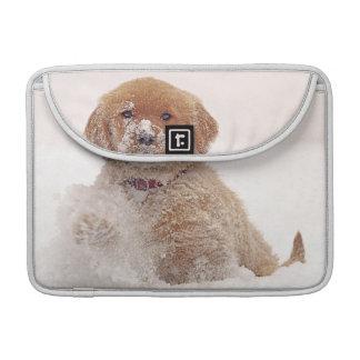 Golden Retriever Pup in Snow MacBook Pro Sleeves