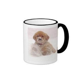 Golden Retriever Pup in Snow Ringer Mug