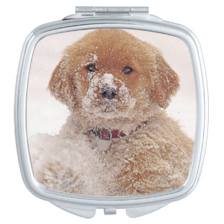 Golden Retriever Pup in Snow Vanity Mirror