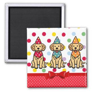Golden Retriever Puppies Birthday Square Magnet
