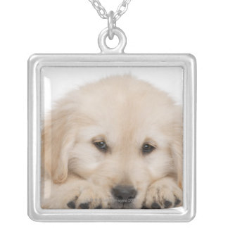 Golden retriever puppy (20 weeks old) square pendant necklace