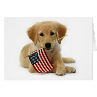Golden Retriever Puppy and Flag Card