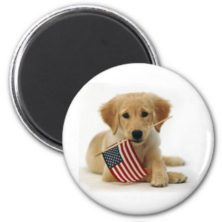 Golden Retriever Puppy and Flag Magnet