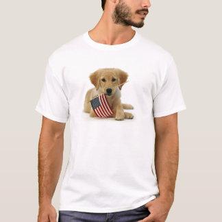 Golden Retriever Puppy and Flag T-Shirt
