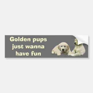 Golden Retriever Puppy Bumper Sticker Car Bumper Sticker