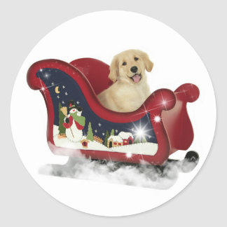 Golden Retriever Puppy Classic Round Sticker