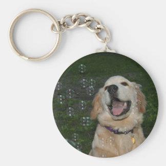 Golden Retriever Puppy in Bubbles Basic Round Button Key Ring